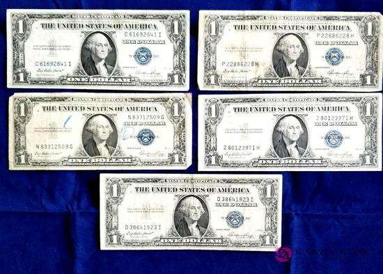 Five One Dollar Silver Certificates