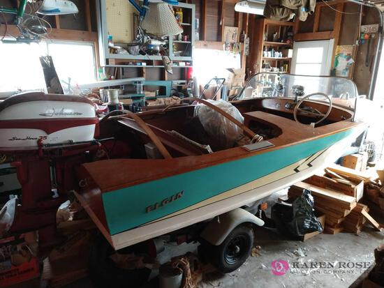 Vintage Elgin hand crafted wood boat with Johnson seahorse 35 , REGISTERED HOME BUILT, DAD BUILT