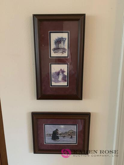 Small signed pictures framed