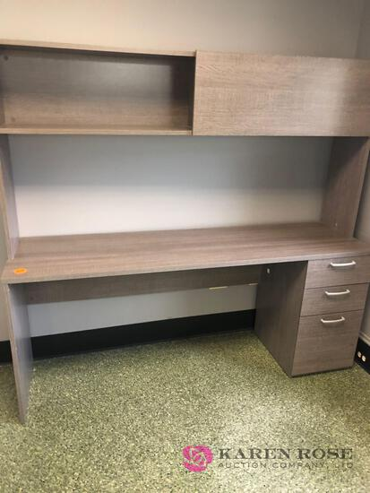 Modern gray washed desk and file cabinet