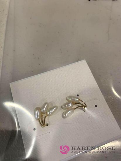 14 k Seed pearl earrings