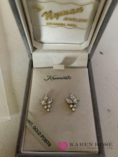 14k Rhinestone earrings