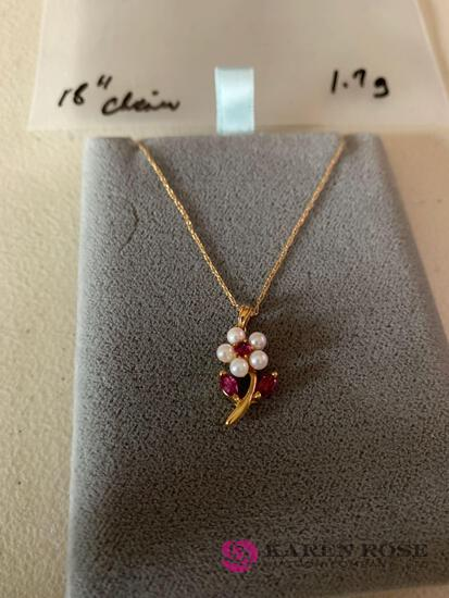14 k Ruby and pearl flower necklace