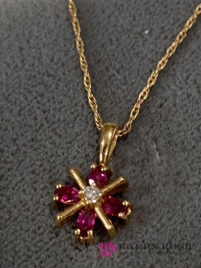 14 K Ruby diamond necklace