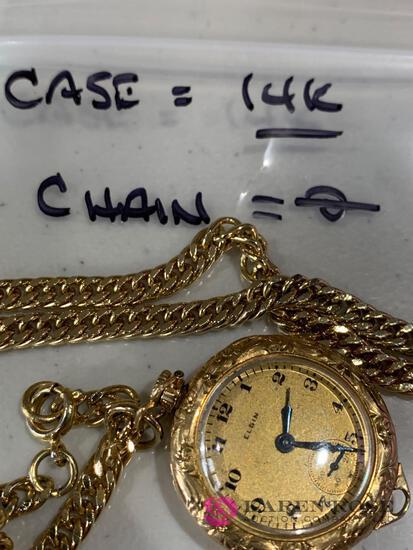 Elgin 14k watch pendant