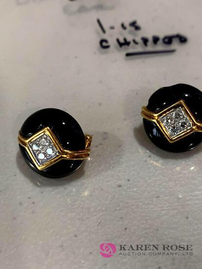 18k Diamond and onyx earrings