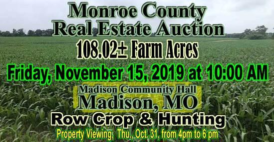 Monroe County Real Estate Auction, Madison, MO.