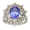 APP: 17k 18 kt. White Gold, 2.83CT Oval Cut Tanzanite and Diamond Ring