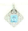 *Fine Jewelry 14 kt. White Gold, 0.34CT Square Cut Aquamarine And Diamond Pendant