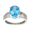 APP: 0.5k Fine Jewelry Designer Sebastian, 3.11CT Blue/White Topaz And Sterling Silver Ring
