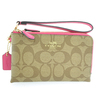 Brand New Authentic Coach Khaki/Dahlia Signature Double Corner Zip Wristlet