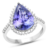 *14 kt. White Gold, 5.17CT Pear Cut Tanzanite And Diamond Ring (Q R20952TANWD_14K WG)