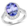 *14 kt. White Gold, 4.51CT Oval Cut Tanzanite And Diamond Ring (Q QR20934TANWD-14KW-7)