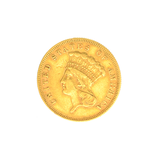 Very Rare 1867 $3 U.S. Princess Low Mintage Damage Gold Coin Great Investment