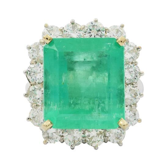APP: 42k *13.45ct Emerald and 2.73ctw Diamond 14KT White Gold Ring (Vault_R7_9580)