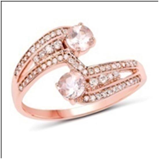 *Fine Jewelry 14K Rose Gold, 2.84CT Morganite And White Round Diamond Ring (Q-R20315MGWD-14KR)