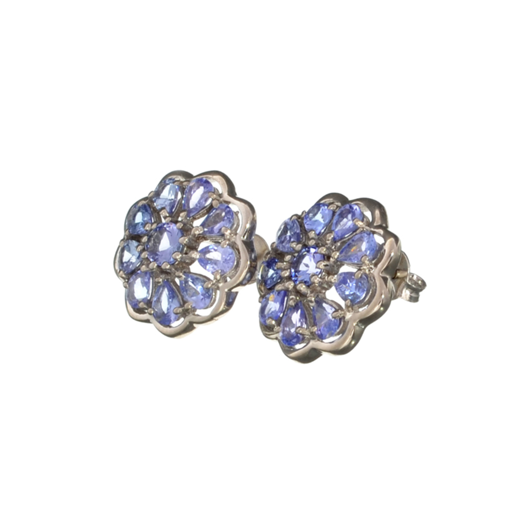 APP: 3.1k Fine Jewelry 4.00CT Mixed Cut Tanzanite And Platinum Over Sterling Silver Earrings