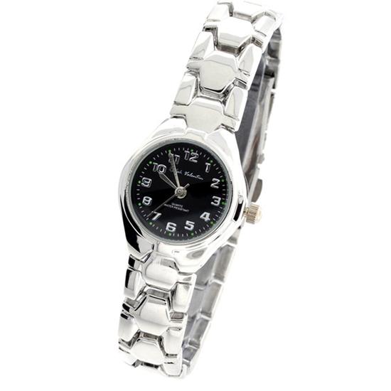 Ralph Valentin Women's Round Stainless Steel Black & Silver Watch