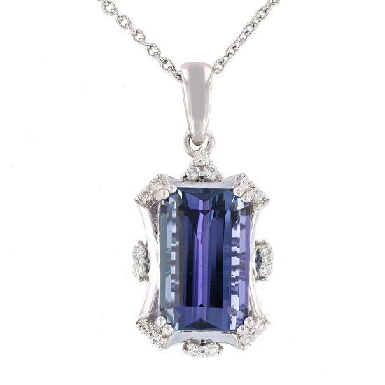 APP: 23k *9.46ct Tanzanite and 0.21ctw Diamond Platinum Pendant/Necklace (GIA CERTIFIED) (Vault_R7_2