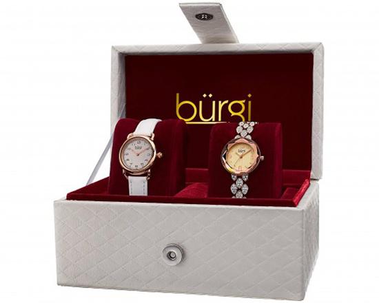 Burgi Womens's Swarovski Crystal Japanese Quartz Leather Strap/Bracelet Rose Gold Watch Set