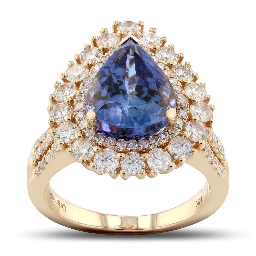 APP: 17.3k *5.52ct Tanzanite and 1.62ctw Diamond 14K Yellow Gold Ring (Vault_R7_21687)