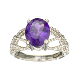 APP: 0.5k Fine Jewelry Designer Sebastian, 2.15CT Oval Cut Amethyst And Sterling Silver Ring