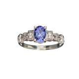 APP: 1.5k Fine Jewelry 14 KT White Gold, 1.01CT Violet Tanzanite And White Sapphire Ring