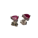 APP: 0.8k Fine Jewelry 1.40CT Pear Cut Ruby And Platinum Over Sterling Silver Earrings