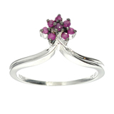 APP: 0.2k Fine Jewelry 0.16CT Round Cut Ruby And Sterling Silver Ring