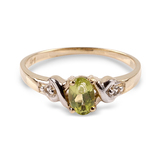 APP: 0.6k 14 kt. Gold, 0.47CT Peridot And White Sapphire Ring