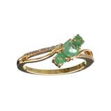 Designer Sebastian 14 KT Gold, 0.62CT Round Cut Emerald and 0.02CT Round Brilliant Cut Diamond Ring