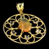 APP: 3.4k 14 kt. Gold, 1.45CT Crystal Opal and Topaz Pendant