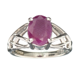 APP: 0.5k Fine Jewelry Designer Sebastian, 1.59CT Oval Cut Ruby And Sterling Silver Ring