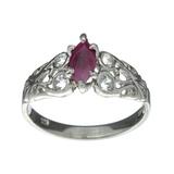 APP: 0.5k Fine Jewelry Designer Sebastian, 0.91CT Ruby And White Topaz Sterling Silver Ring