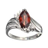 Fine Jewelry Designer Sebastian 2.42CT Almandite Garnet And White Topaz Sterling Silver Ring