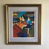 Tarkay- Framed Lithograph-Signature ''''Café de Luc''''