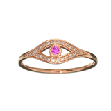APP: 0.8k Fine Jewelry 14 KT Gold, 0.04CT Ruby And Diamond Evil Eye Ring