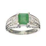 APP: 0.7k Fine Jewelry Designer Sebastian, 1.40CT Green Emerald And White Topaz Sterling Silver Ring