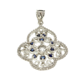 APP: 0.6k Fine Jewelry 0.63CT Round Cut Blue And White Sapphire Sterling Silver Pendant