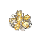 APP: 0.4k Fine Jewelry Designer Sebastian, Oval Cut 2.60CT Citrine And Sterling Silver Cluster Ring