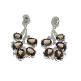 APP: 0.9k 10.56CT Oval Cut Smoky Quartz And 0.45CT Round Cut White Topaz Sterling Silver Earrings