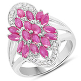 APP: 1.7k 2.50CT Marquise Cut Ruby & White Topaz 925 Sterling Silver Ring