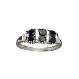 APP: 0.5k Fine Jewelry 1.33CT Round Cut Blue And White Sapphire Sterling Silver Ring