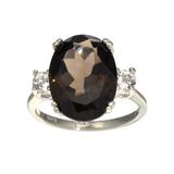 APP: 0.7k Fine Jewelry Designer Sebastian, 8.23CT Smoky Quartz And White Topaz Sterling Silver Ring