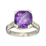 Fine Jewelry Designer Sebastian 3.53CT Square Cushion Cut Amethyst And Sterling Silver Ring