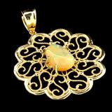 APP: 3.5k 14 kt. Gold, 2.61CT Oval Cut Cabochon Crystal Opal Pendant