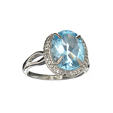 APP: 0.8k Fine Jewelry 5.40CT Blue Topaz And White Sapphire Sterling Silver Ring