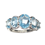 APP: 0.4k Fine Jewelry 5.42CT Oval Cut Blue Topaz And Sterling Silver Ring