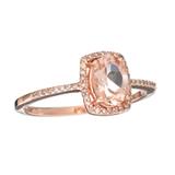 Designer Sebastian 14 KT Rose Gold, Oval Cut Morganite and 0.08CT Round Brilliant Cut Diamond Ring