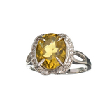 APP: 0.8k Fine Jewerly 3.00CT Oval Cut Citrine And White Sapphire Sterling Silver Ring